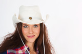 Cowgirl in White Hat