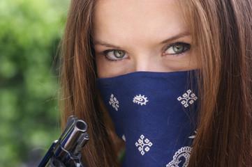 Girl with Bandana and Gun