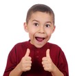 kid giving thumbs up sign, isolated on white