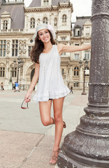 Beautiful Multicultural Young Woman in a Parisian Plaza