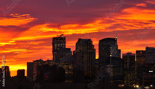 Fire in the sky Downtown Calgary skyline