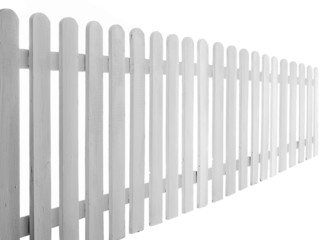 painted wooden fence on white background