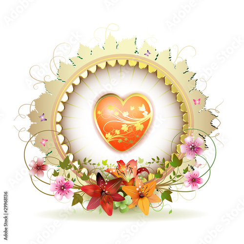 Circular floral frame with heart and lilies for Valentine's day