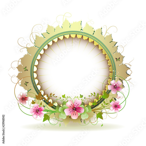 Floral frame in circle with gold decoration