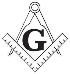 The Masonic Square and Compass symbol, freemason
