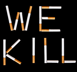 "Cigarettes showing text ""we kill"""