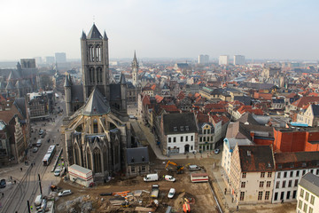 View from above on the center of Ghent