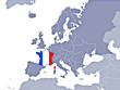 France location on Europe's map with flag