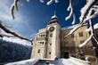 Fototapete Winter - Winterlandschaft - Schloss