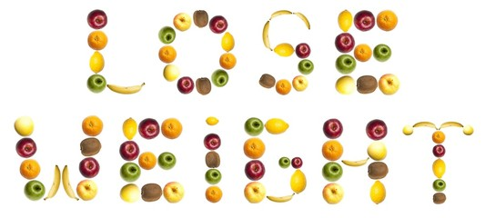 Lose weight word made of fruits