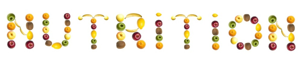 Nutrition word made of fruits