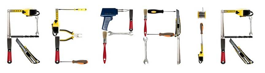 Repair word made of hand tools