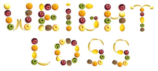 Weight loss  word made of food in forks