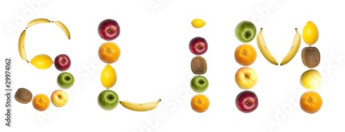 Slim word made of fruits