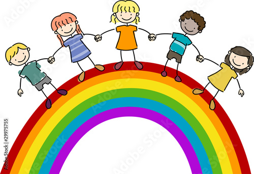 Fotobehang Regenboog Kids Standing on Top of a Rainbow