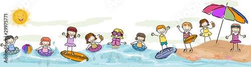 Leinwanddruck Bild Kids Swimming