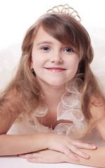 beautiful girl  on white background