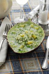 Sopa de arroz y papas
