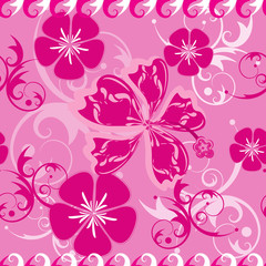 Seamless pink Hawaii pattern