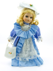 Porcelain Doll in a Blue Gown