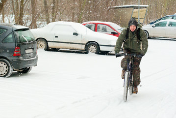 Bicycling during a blizzard