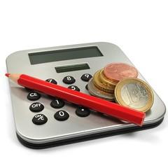 Taschenrechner mit Rotstift und Münzen