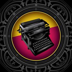 Vintage background with old typewriting machine.
