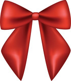 satin red bow isolated on white background