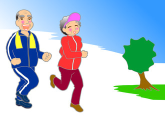 Mature couple running
