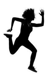young afro american woman silhouette runner running
