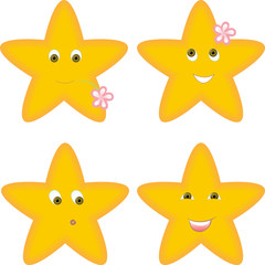 set of four yellow stars with different facial expressions