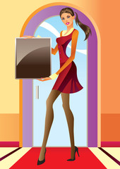 fashion girl with advertisement board- vector illustration