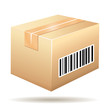 Cardboard icon with barcode label