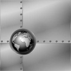 Abstract metal background with globe. Vector illustration.