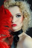 Pretty sexy cabaret showgirl fashion stage make-up