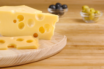 Cheese on the cutting board