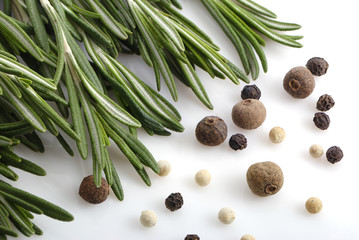 Bunch of rosemary and pepper