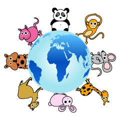 animal around the globe vector