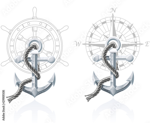 Leinwanddruck Bild Nautical emblems