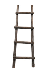 Old wooden ladder on the white background