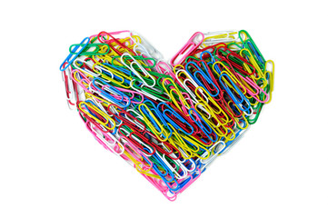 Heart of coler paper clip isolated on whitebackground