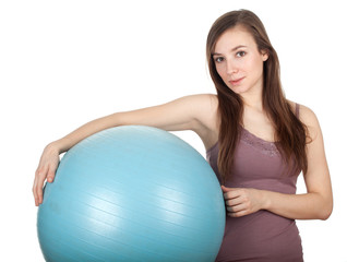 young long hair woman and big blue ball
