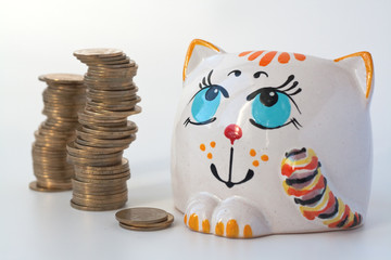 Coins and money bank