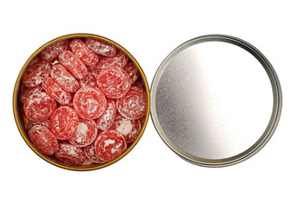 Open box with candy isolated