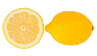 Fresh half and full lemon isolated on white