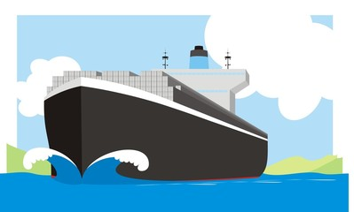 A container vessel colorful raster illustration