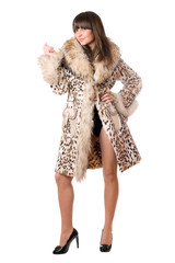 young lady in leopard coat