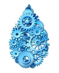 water industry gears cogs drop shape ecology symbol
