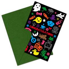 postal con varios iconos