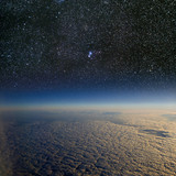 High altitude view of the Earth in space. poster